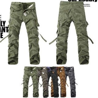 MENS CASUAL MILITARY ARMY CARGO CAMO COMBAT WORK PANTS TROUSERS 29 38