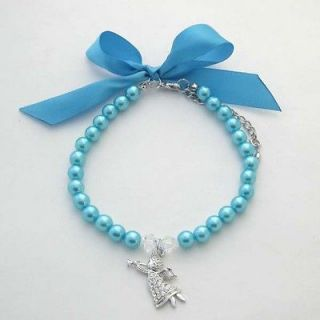 Blue dog pearls necklace with angel pendant,pet collar,with ribbon/10