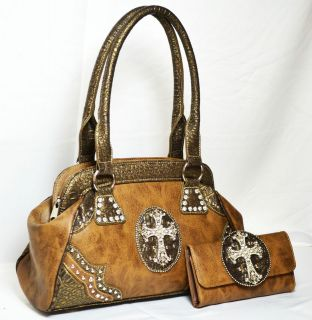 western cowgirl rhinestone cross satchel bag with matching wallet