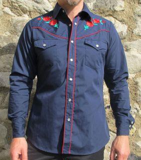 Retro Navy Blue Cowboy Rodeo Western Shirt New Vintage Line Dancing