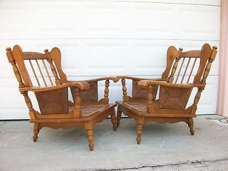 Pair Wingback 2 Chairs with Ears French Country Cottage Wood Cabin