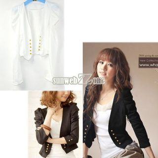 S0BZ New Long Sleeve Shrug Shoulder Western Suits Blazer Short Coat