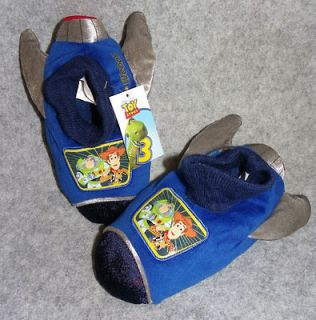 Toy Story 3 Toddler Boys Blue Slippers Buzz & Woody Size S M L Or XL