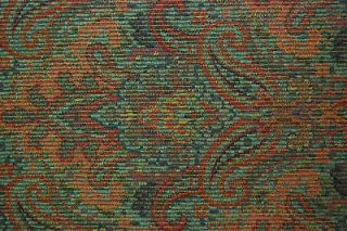 Allen Red Blue Green Paisley Damask Drapery Chenille Upholstery Fabric