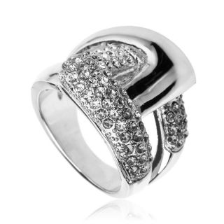 Size 6 ARINNA cute buckle Cocktail Fashion Ring 18K WGP Swarovski