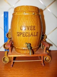 Vintage Cuvee Speciale Barrel Decanter on Chair w/6 Mini Mugs/Shot