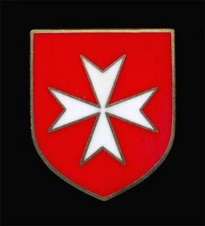 ARMY CRUSADER KNIGHTS ORDER WHITE MALTESE CROSS RED SHIELD LAPEL PIN