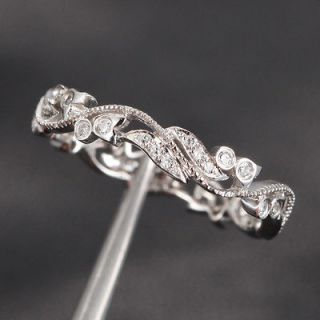 Antique Style Floral .3ct Pave Diamond 14K White gold Engagement Ring