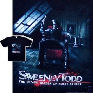 SWEENEY TODD DEMON BARBER POSTER IMAGE/JOHNNY DEPP T SHIRT 2XL XXL NEW