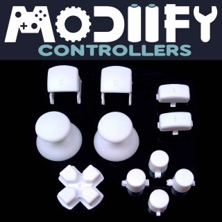 Custom PS3 Controller DPad Thumbsticks Triggers Buttons Mod Kit (White