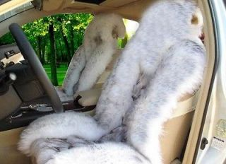 Genuine Fox fur & White/gray Sheepskin Car Seat Covers Cover Pair