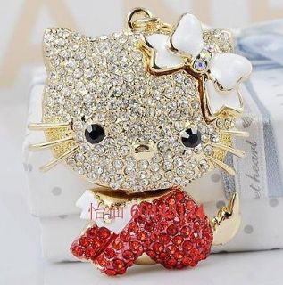Red Cat Hello Kitty Keyring Chain Purse Charm Swarovski Crystal Gift