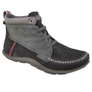 Cushe Mens BESPOKE SLIPPER Black / Grey Leather Suede Chukka Boots