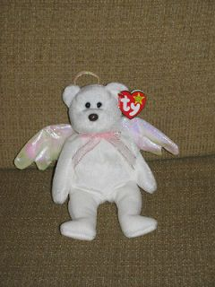 ty Beanie Babies HALO White Teddy Bear Angel Stuffed Animal Plush WT