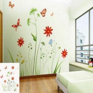 Colorful Flower Dandelion Tree Butterfly VINY Wall Sticker Decor