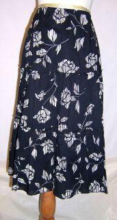 Sandra Darren size 12 Black & White Tiered Floral Print Skirt EUC