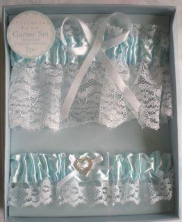 Blue Satin & Lace Wedding Garters / Rhinestone Heart Toss Set GIFT
