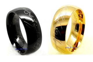 Size 7,8,9,10,11,12,13 Black Gold Stainless Steel Men The Lord of