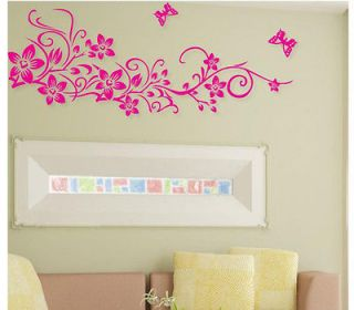 Large Flower Butterfly Removable Wall Sticker Home Decor Art Decal