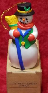 NEW Vintage 1995 Avon Talking Snowman Christmas Ornament Decoration