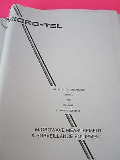 COPY MANUAL MICRO TEL MICROWAVE RECEIVER MSR 904A OPERAT ION