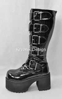 Demonia Ranger 318 goth gothic punk matte black platform buckled boots