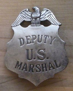 DEPUTY US MARSHALL BADGE BW   28 WESTERN SHERIFF POLICE