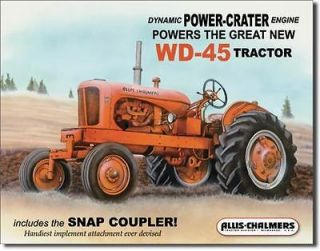 ALLIS CHALMERS WD 45 TRACTOR COLLECTOR METAL SIGN