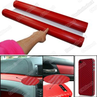 Red Diagonal 3D Twill Weave Carbon Fiber Vinyl Sheet Film Car Sticker