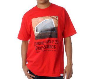 Diamond Supply Co. Pool Service T Shirt Red Black White 1998 aqua