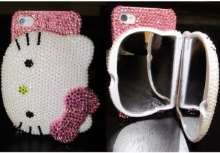 Hello Kitty Bling Diamond w/ Mirror Case 3D for Iphone 4 / 4S Crystal