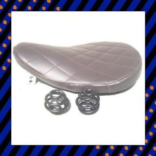 SOLO SEAT DARK BROWN DIAMOND LEATHER 9 & 2 FLAT BLACK SPRINGS BOBBER