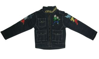 693 BNWT Boys BEN 10 denim jeans zip jacket L Age 7 8