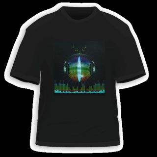 Sound Disco Rave Party Dance Music Activated EL LED T Shirt Fresh New
