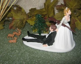 HUMOROUS WEDDING BUCK DOE FAWN DEER HUNTER HUNTING CAKE TOPPER