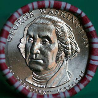 BU George Washington Presidential Dollar 25 Coin Roll #1 String & Sons