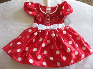 GIRLS SIZE XS (4)  MINNIE MOUSE RED SPARKLE COSTUME DRESS