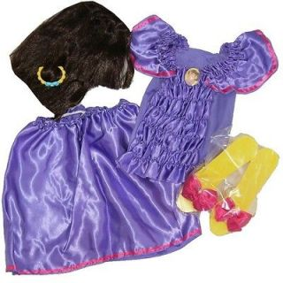 Dora The Explorer Girls Halloween Costume Set Wig, Shoes, Outfit