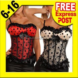 Moulin Burlesque Polka Dot Red Black Boned Corset Fancy Costume Top
