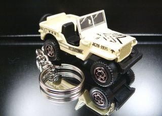 Pale Flat Beige Army Jeep Willys 4X4 Keychain Key Ring Fob