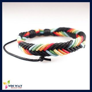 Reggae Marley Rasta Friendship Rainbow Braided Wrist Hemp Surfer Cuff