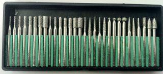 30 DIAMOND BURR BITS 1/8 FOR DREMEL rotary tool 8230DD4 glass metal