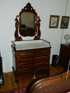 Antique Belgian Dresser with Mirror and Marble Top