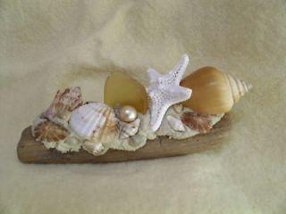 seashell starfish driftwood table accent piece wedding favor glass