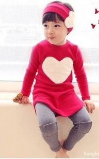 New Cute Kids Girls Heart Image Top Pants Hair Bands 3 Pieces Sets 3