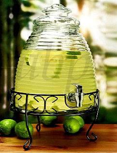 GLASS BEVERAGE DISPENSER 2.31 Gallon Beehive Design Stand Brand NEW