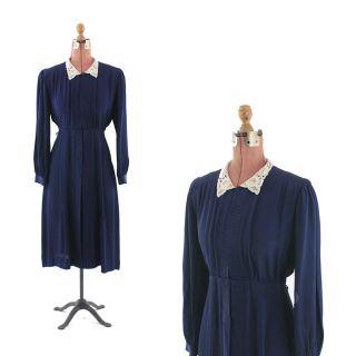 20s Navy Blue Rayon Silk Art Deco DROP WAIST Light Weight Day DRESS M