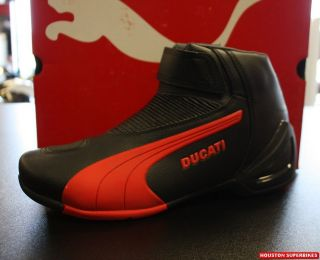 DUCATI PERFORMANCE PUMA FLAT STREET MOTORCYCLE BOOT BLACK RED EU 47