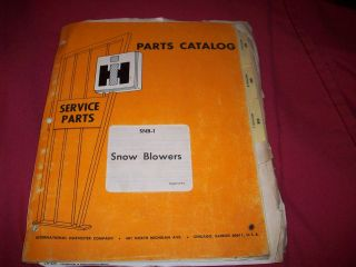 1972 International Snow Blower Parts Catalog Manual 265 268 328