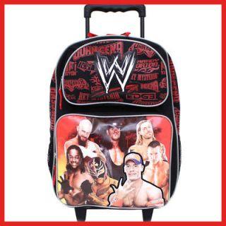 WWE Wrestling School Rolling Backpack 16 Large Roller Bag  Group